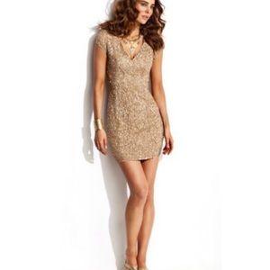Parker gold sequin silk dress Size S NWT